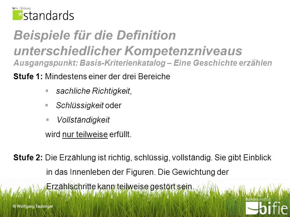 © Wolfgang Taubinger Beispiele für die Definition unterschiedlicher Kompetenzniveaus Ausgangspunkt: Basis-Kriterienkatalog – Eine Geschichte erzählen