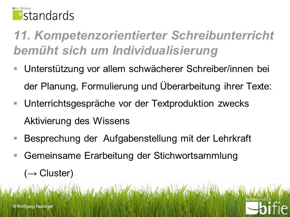 © Wolfgang Taubinger 11. Kompetenzorientierter Schreibunterricht bemüht sich um Individualisierung Unterstützung vor allem schwächerer Schreiber/innen