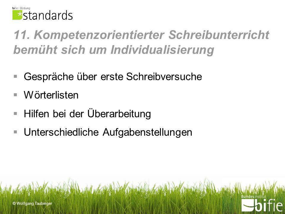 © Wolfgang Taubinger 11. Kompetenzorientierter Schreibunterricht bemüht sich um Individualisierung Gespräche über erste Schreibversuche Wörterlisten H