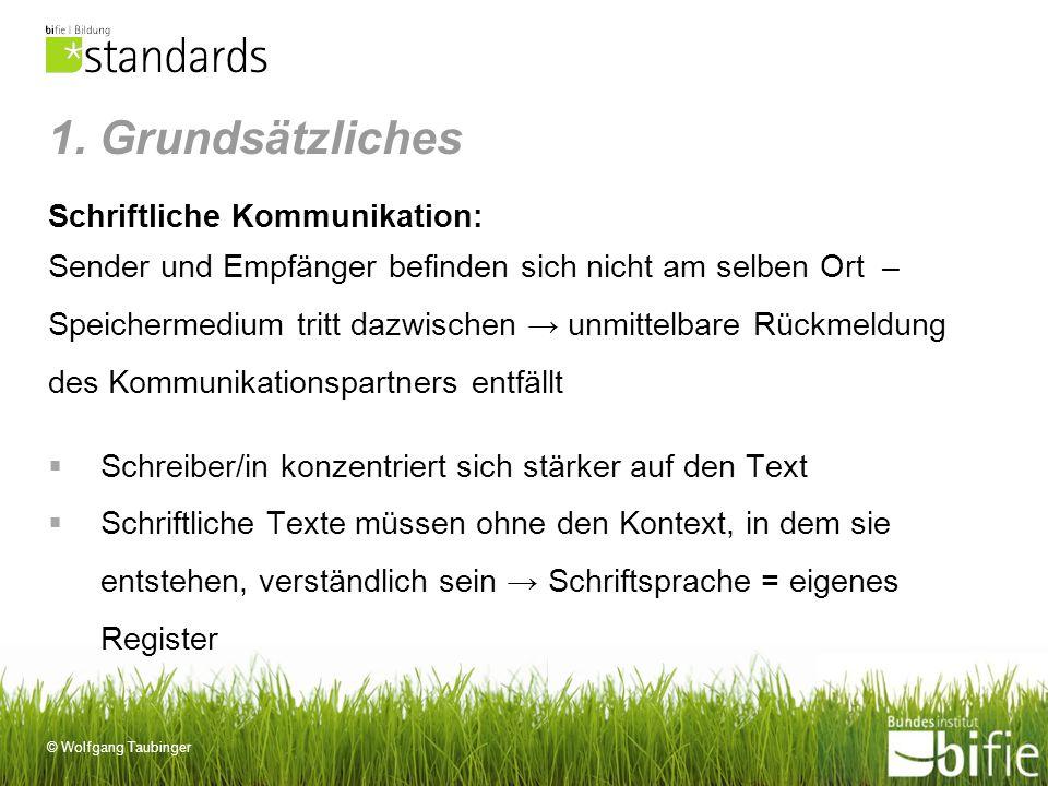 © Wolfgang Taubinger 1. Grundsätzliches Schriftliche Kommunikation: Sender und Empfänger befinden sich nicht am selben Ort – Speichermedium tritt dazw