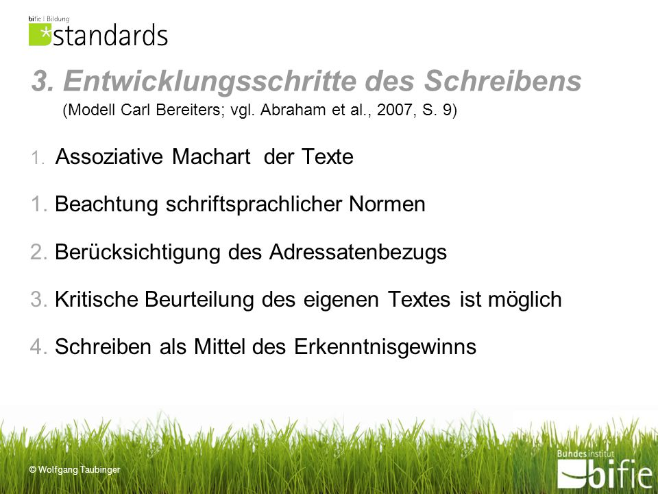 © Wolfgang Taubinger 3. Entwicklungsschritte des Schreibens (Modell Carl Bereiters; vgl. Abraham et al., 2007, S. 9) 1. Assoziative Machart der Texte