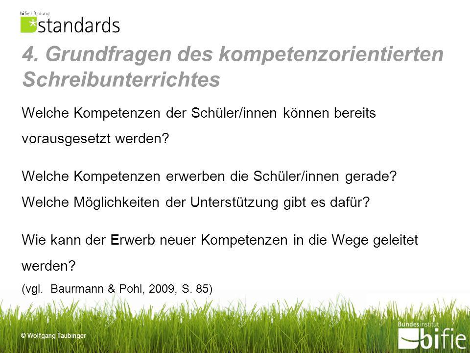 © Wolfgang Taubinger 4. Grundfragen des kompetenzorientierten Schreibunterrichtes Welche Kompetenzen der Schüler/innen können bereits vorausgesetzt we