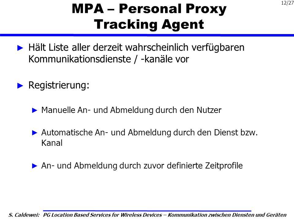 S. Caldewei: PG Location Based Services for Wireless Devices – Kommunikation zwischen Diensten und Geräten 12/27 MPA – Personal Proxy Tracking Agent H