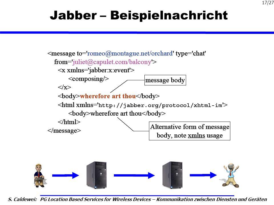 S. Caldewei: PG Location Based Services for Wireless Devices – Kommunikation zwischen Diensten und Geräten 17/27 Jabber – Beispielnachricht