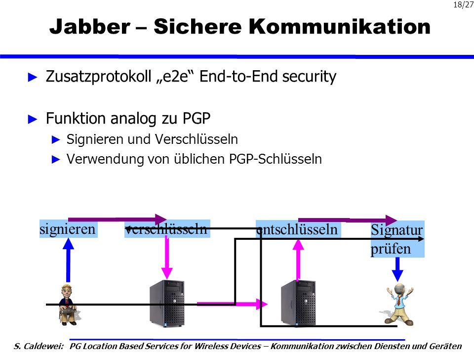 S. Caldewei: PG Location Based Services for Wireless Devices – Kommunikation zwischen Diensten und Geräten 18/27 Jabber – Sichere Kommunikation Zusatz