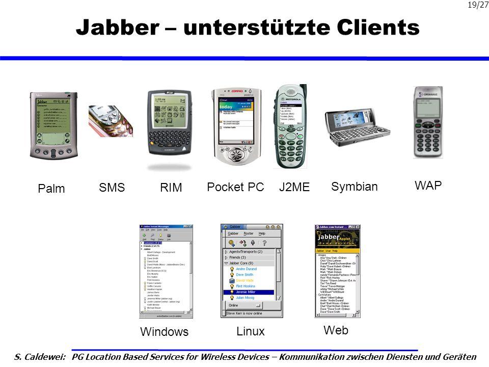 S. Caldewei: PG Location Based Services for Wireless Devices – Kommunikation zwischen Diensten und Geräten 19/27 Jabber – unterstützte Clients Palm SM