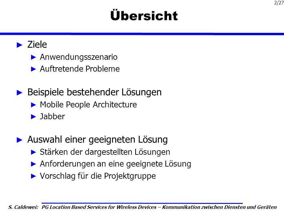 S. Caldewei: PG Location Based Services for Wireless Devices – Kommunikation zwischen Diensten und Geräten 2/27 Übersicht Ziele Anwendungsszenario Auf
