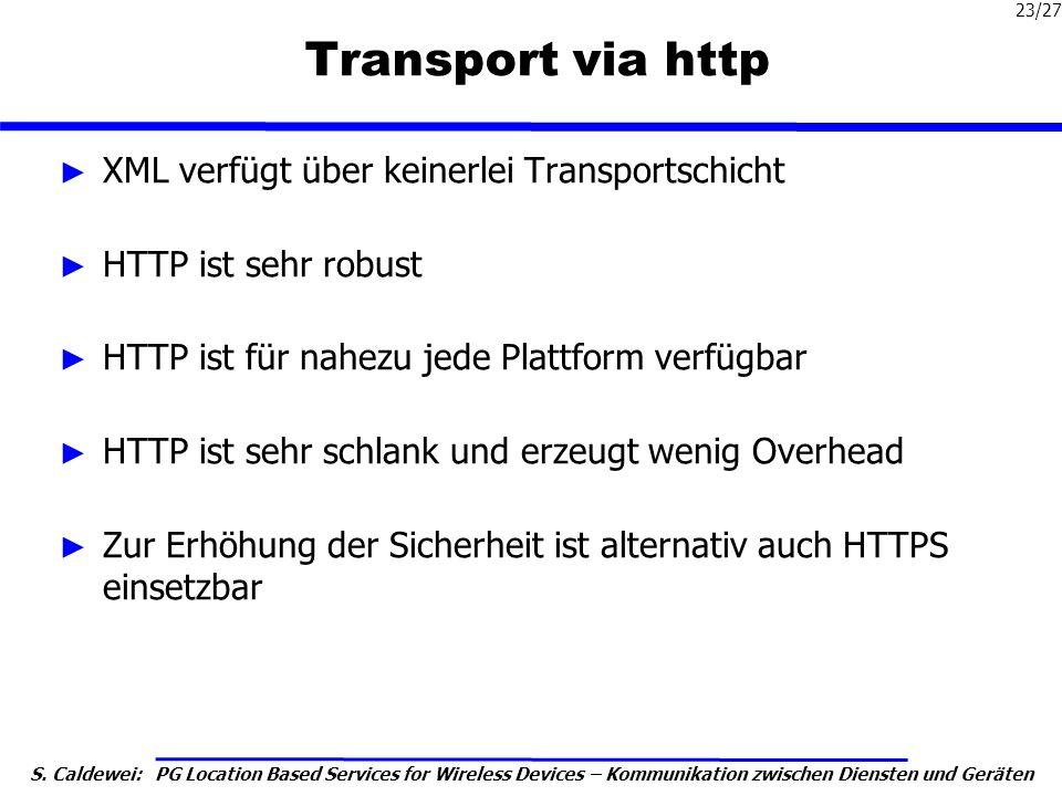 S. Caldewei: PG Location Based Services for Wireless Devices – Kommunikation zwischen Diensten und Geräten 23/27 Transport via http XML verfügt über k