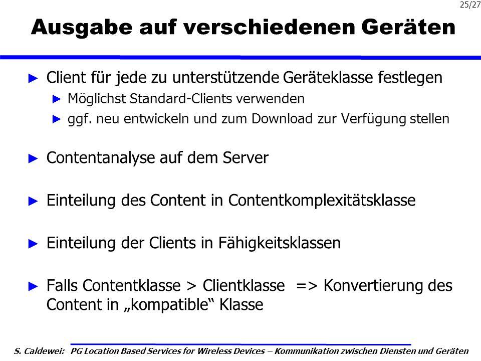 S. Caldewei: PG Location Based Services for Wireless Devices – Kommunikation zwischen Diensten und Geräten 25/27 Ausgabe auf verschiedenen Geräten Cli