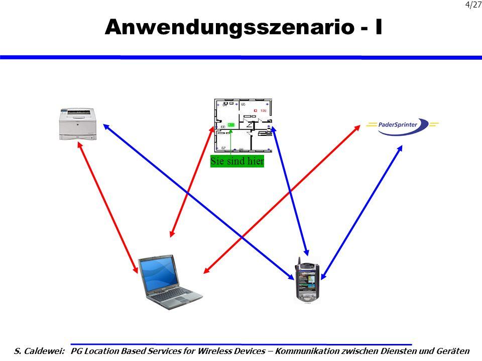 S. Caldewei: PG Location Based Services for Wireless Devices – Kommunikation zwischen Diensten und Geräten 4/27 Anwendungsszenario - I Sie sind hier