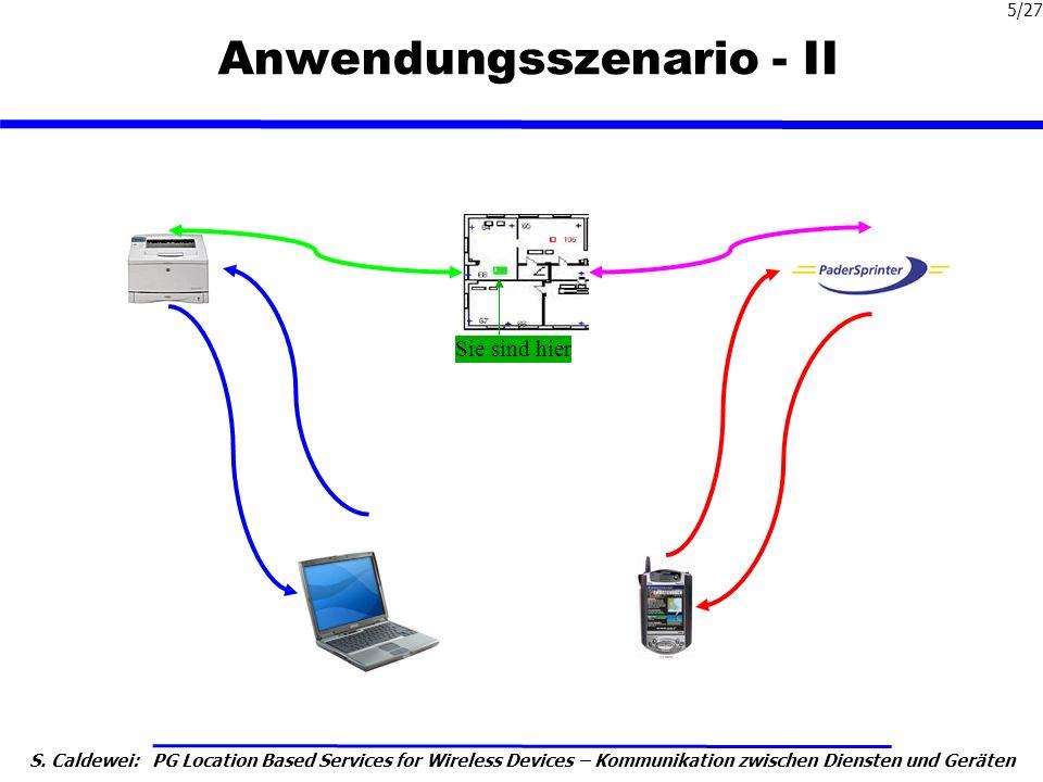 S. Caldewei: PG Location Based Services for Wireless Devices – Kommunikation zwischen Diensten und Geräten 5/27 Anwendungsszenario - II Sie sind hier