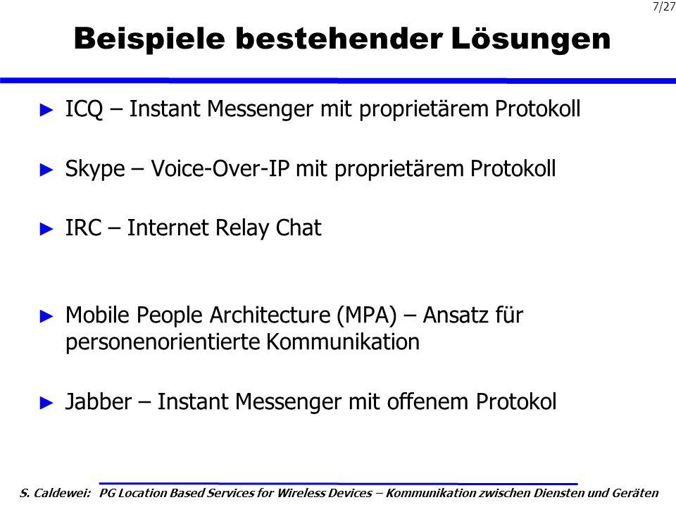 S. Caldewei: PG Location Based Services for Wireless Devices – Kommunikation zwischen Diensten und Geräten 7/27 Beispiele bestehender Lösungen ICQ – I