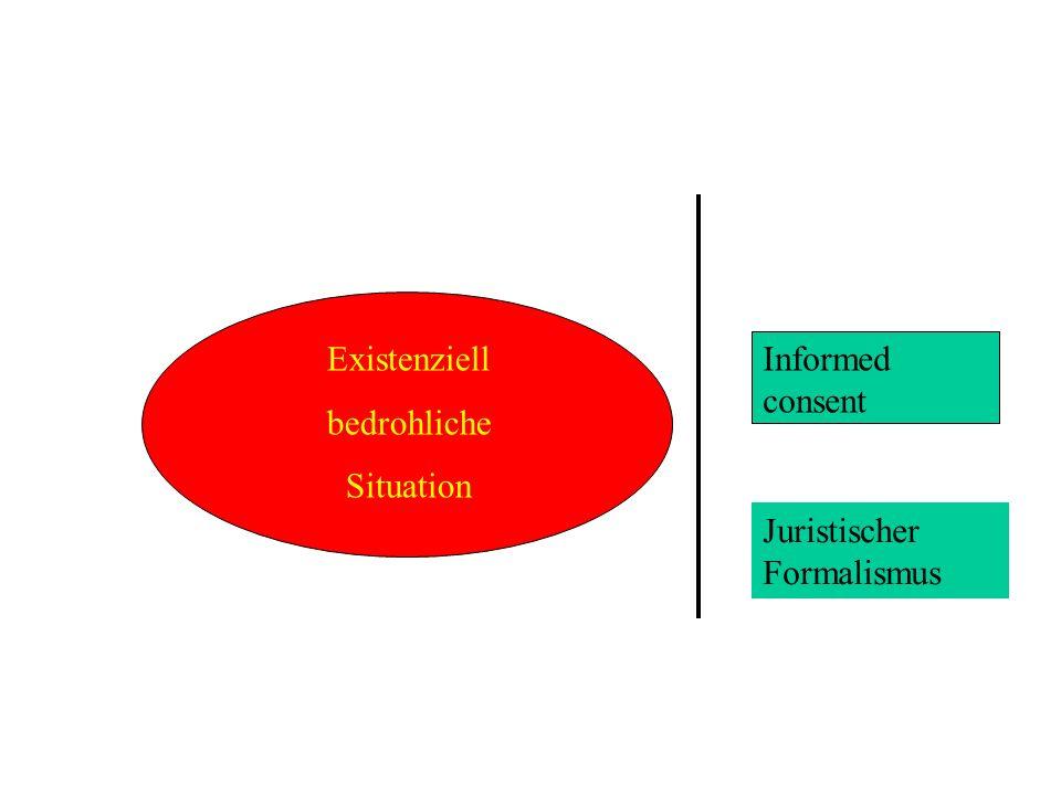 Existenziell bedrohliche Situation Informed consent Juristischer Formalismus