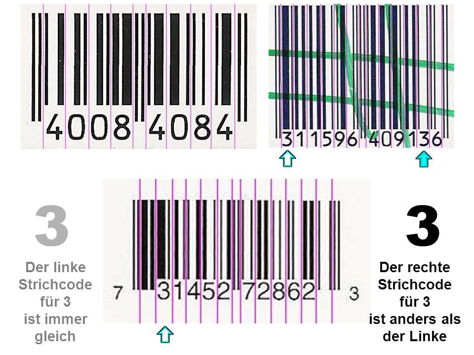 33 Der linke Strichcode für 3 ist immer gleich Der rechte Strichcode für 3 ist anders als der Linke