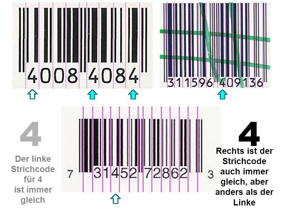 44 Der linke Strichcode für 4 ist immer gleich Rechts ist der Strichcode auch immer gleich, aber anders als der Linke