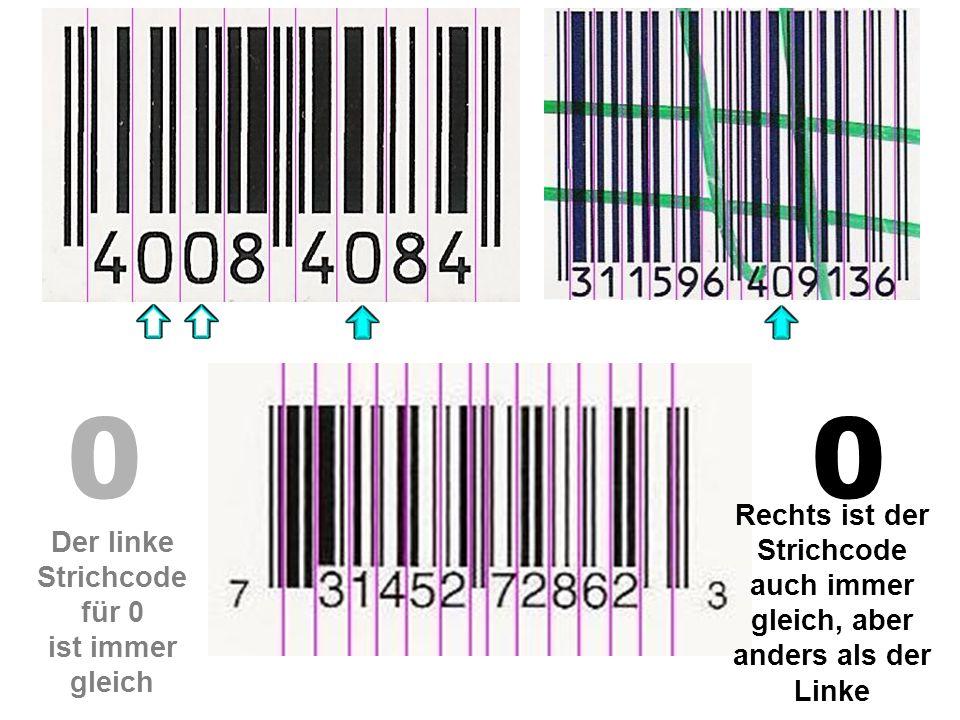00 Der linke Strichcode für 0 ist immer gleich Rechts ist der Strichcode auch immer gleich, aber anders als der Linke
