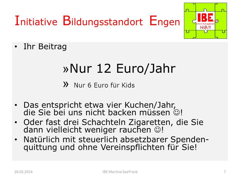 Ihr Beitrag 12 Euro/Jahr 26.02.20146IBE Martina Saalfrank I nitiative B ildungsstandort E ngen