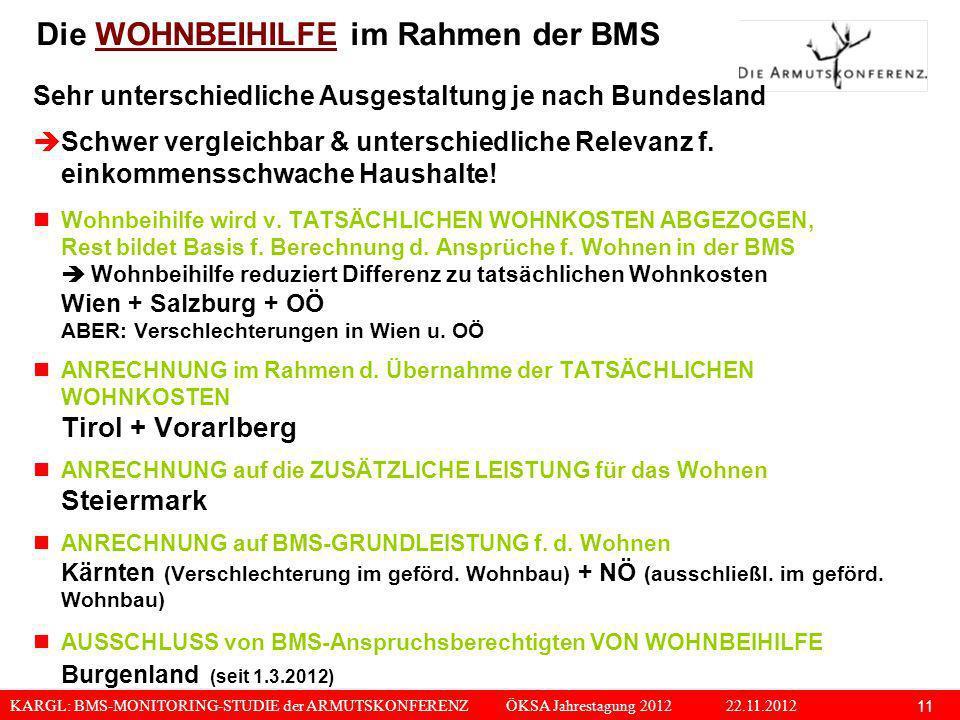 KARGL: BMS-MONITORING-STUDIE der ARMUTSKONFERENZ ÖKSA Jahrestagung 2012 22.11.2012 11 Die WOHNBEIHILFE im Rahmen der BMS Sehr unterschiedliche Ausgest