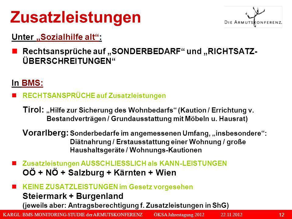 KARGL: BMS-MONITORING-STUDIE der ARMUTSKONFERENZ ÖKSA Jahrestagung 2012 22.11.2012 12 Zusatzleistungen Unter Sozialhilfe alt: Rechtsansprüche auf SOND