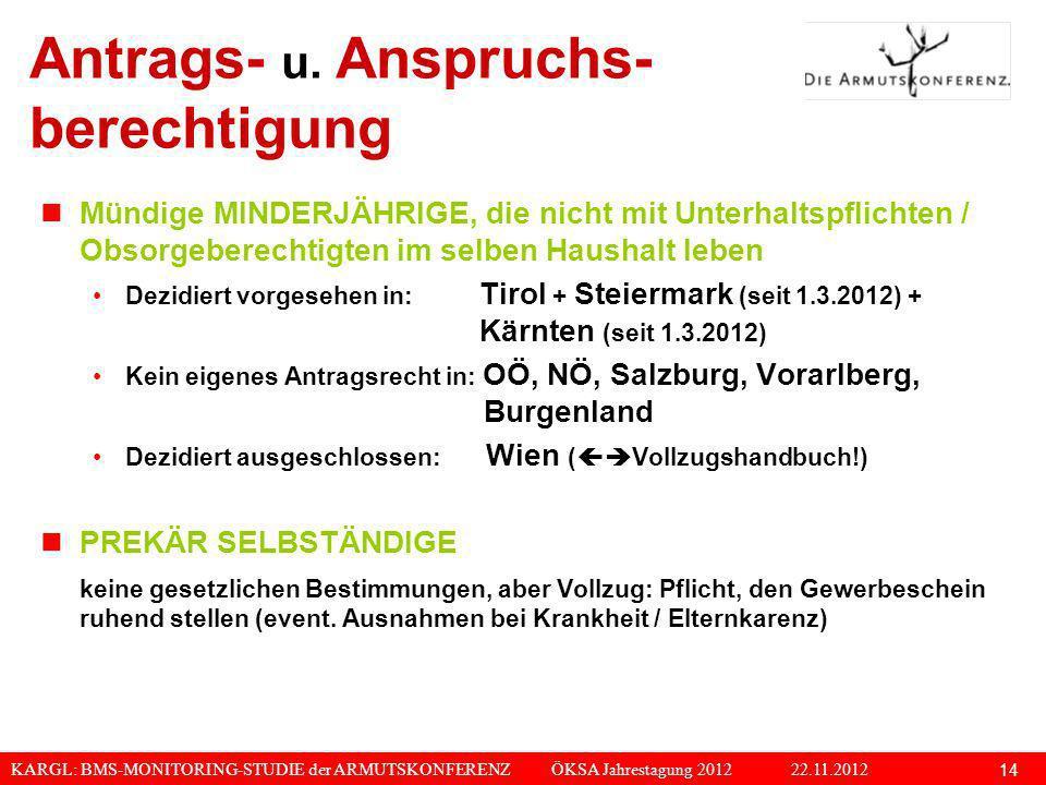 KARGL: BMS-MONITORING-STUDIE der ARMUTSKONFERENZ ÖKSA Jahrestagung 2012 22.11.2012 14 Antrags- u. Anspruchs- berechtigung Mündige MINDERJÄHRIGE, die n