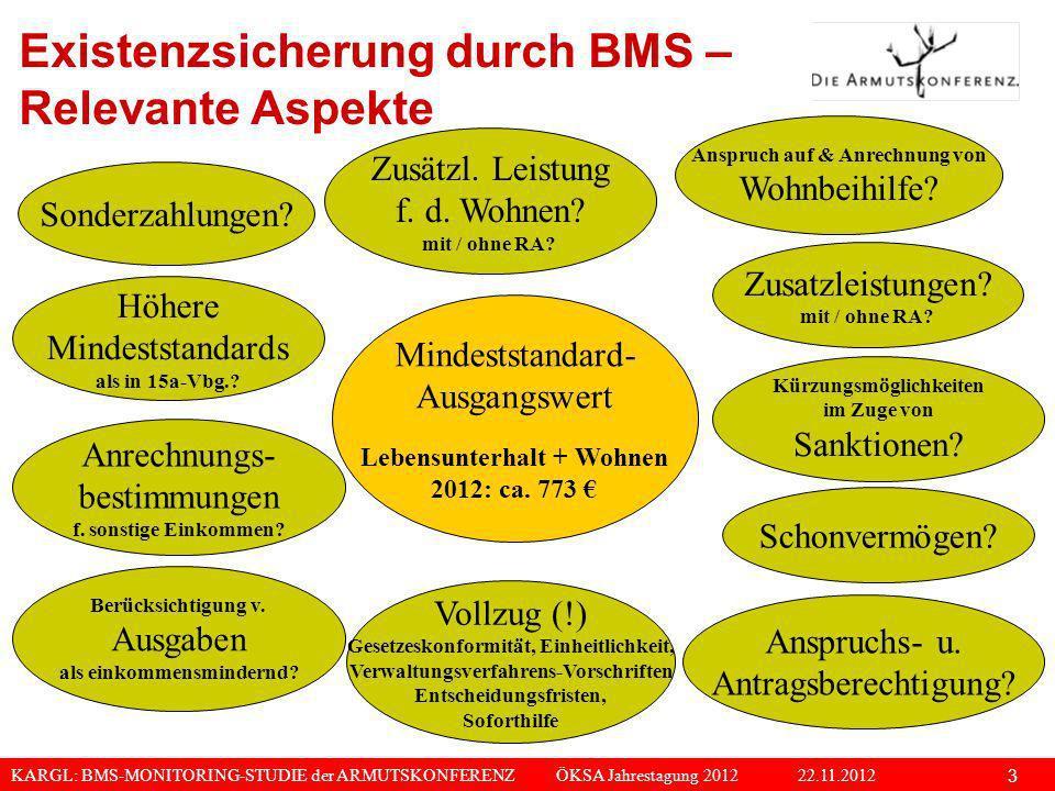KARGL: BMS-MONITORING-STUDIE der ARMUTSKONFERENZ ÖKSA Jahrestagung 2012 22.11.2012 3 Höhere Mindeststandards als in 15a-Vbg.? Zusätzl. Leistung f. d.