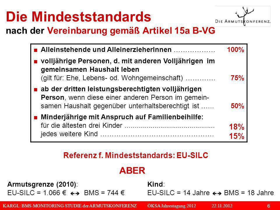 KARGL: BMS-MONITORING-STUDIE der ARMUTSKONFERENZ ÖKSA Jahrestagung 2012 22.11.2012 6 Die Mindeststandards nach der Vereinbarung gemäß Artikel 15a B-VG
