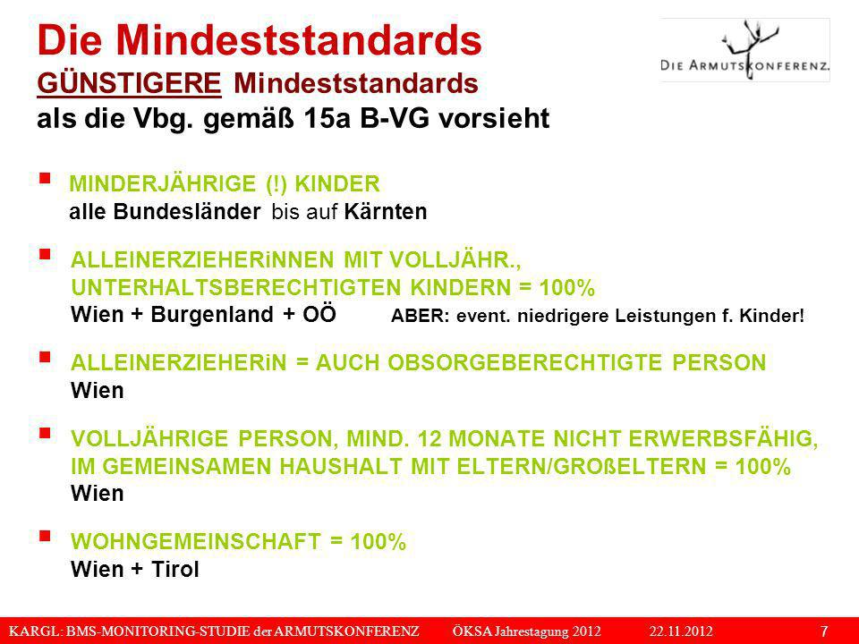 KARGL: BMS-MONITORING-STUDIE der ARMUTSKONFERENZ ÖKSA Jahrestagung 2012 22.11.2012 8 AB DER DRITTEN LEISTUNGSBERECHTIGTEN VOLLJÄHRIGEN PERSON, WENN DIESE EINER ANDEREN PERSON IM GEMEIN- SAMEN HAUSHALT GEGENÜBER UNTERHALTSBERECHTIGT IST = 75% Salzburg VOLLJÄHRIGE, NICHT MEHR UNTERHALTSBERECHTIGTE KINDER (> 21 JAHRE) IM GEMEINSAMEN HAUSHALT MIT ELTERN/ GROßELTERN = 100% Wien 60.