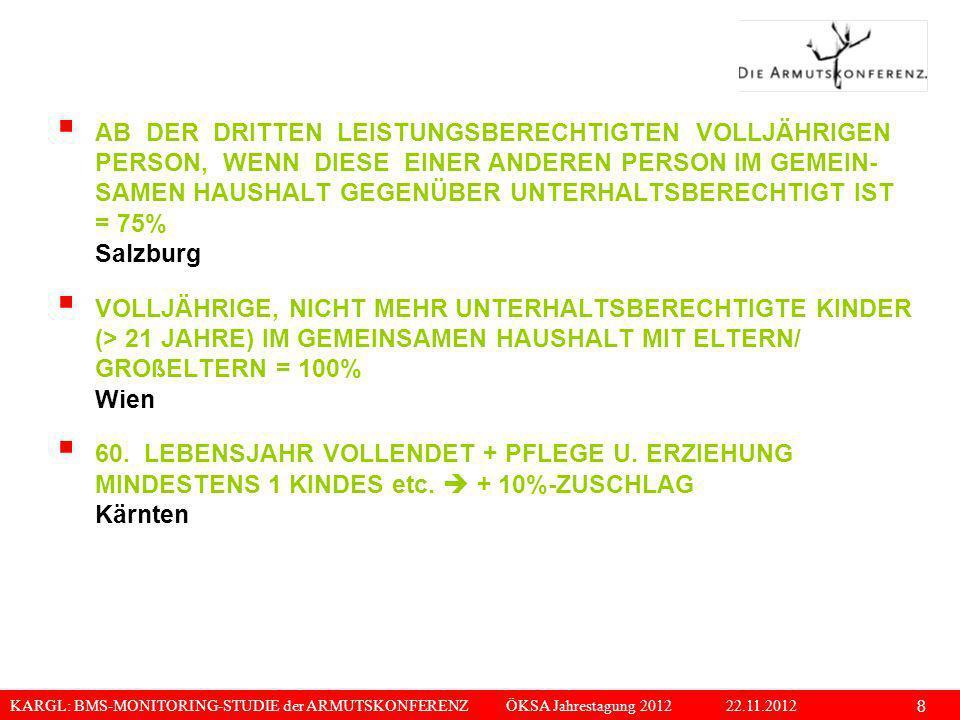 KARGL: BMS-MONITORING-STUDIE der ARMUTSKONFERENZ ÖKSA Jahrestagung 2012 22.11.2012 8 AB DER DRITTEN LEISTUNGSBERECHTIGTEN VOLLJÄHRIGEN PERSON, WENN DI