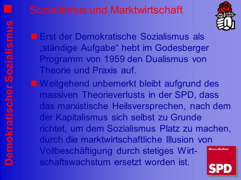 Demokratischer Sozialismus Sozialismus und Marktwirtschaft Erst der Demokratische Sozialismus als ständige Aufgabe hebt im Godesberger Programm von 1959 den Dualismus von Theorie und Praxis auf.