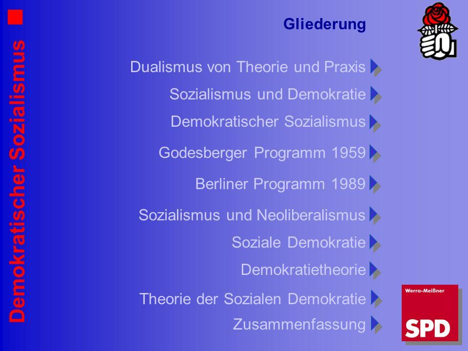 Demokratischer Sozialismus Gliederung Sozialismus und Demokratie Dualismus von Theorie und Praxis Demokratischer Sozialismus Godesberger Programm 1959