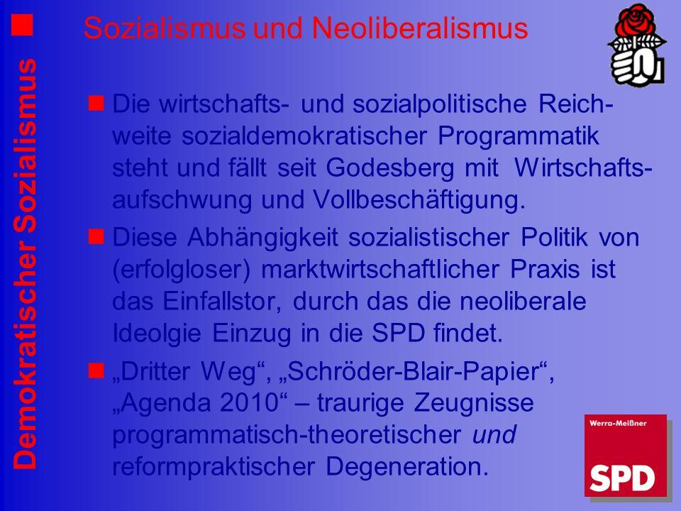 Demokratischer Sozialismus Sozialismus und Neoliberalismus Die wirtschafts- und sozialpolitische Reich- weite sozialdemokratischer Programmatik steht und fällt seit Godesberg mit Wirtschafts- aufschwung und Vollbeschäftigung.