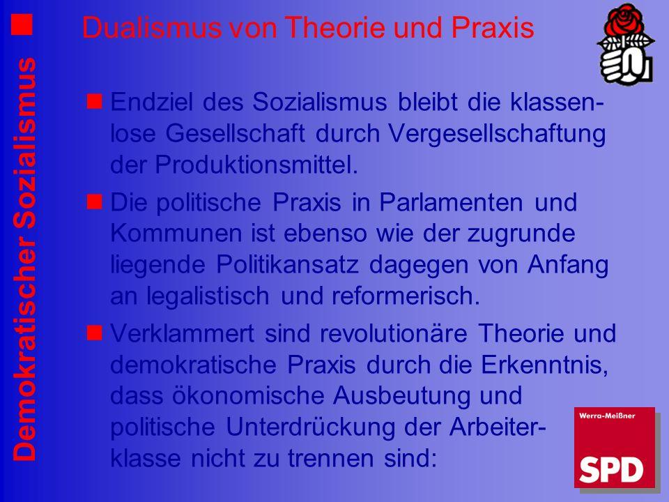 Demokratischer Sozialismus Dualismus von Theorie und Praxis Endziel des Sozialismus bleibt die klassen- lose Gesellschaft durch Vergesellschaftung der