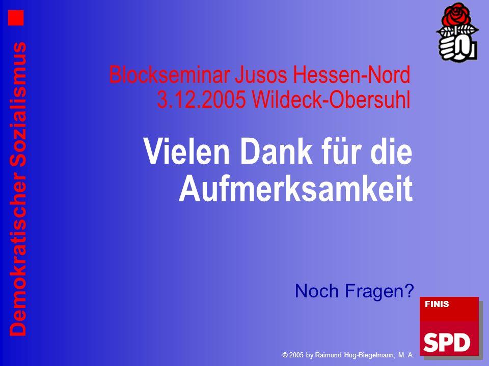 Demokratischer Sozialismus Vielen Dank für die Aufmerksamkeit FINIS © 2005 by Raimund Hug-Biegelmann, M. A. Blockseminar Jusos Hessen-Nord 3.12.2005 W