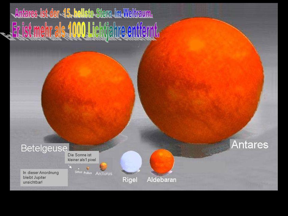 Jupiters Größe ist ungefähr 1 Pixel Die Erde ist in dieser Anordnung unsichtbar