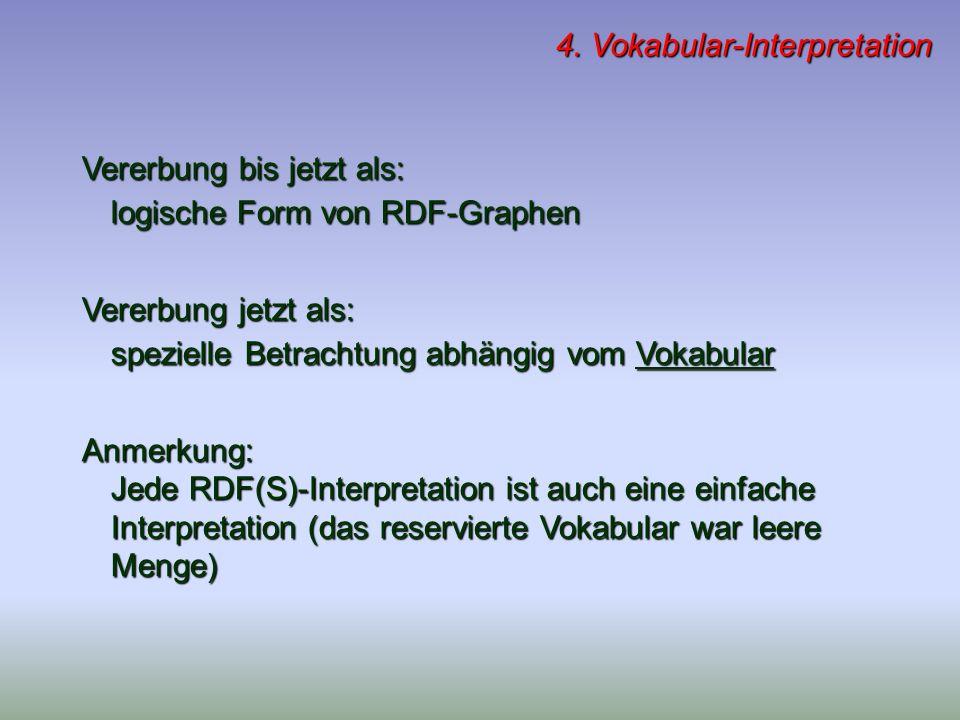 4. Vokabular-Interpretation Vererbung bis jetzt als: logische Form von RDF-Graphen Vererbung jetzt als: spezielle Betrachtung abhängig vom Vokabular A