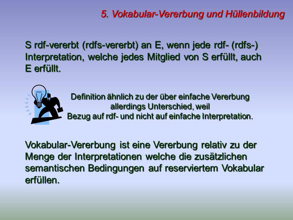 5. Vokabular-Vererbung und Hüllenbildung S rdf-vererbt (rdfs-vererbt) an E, wenn jede rdf- (rdfs-) Interpretation, welche jedes Mitglied von S erfüllt