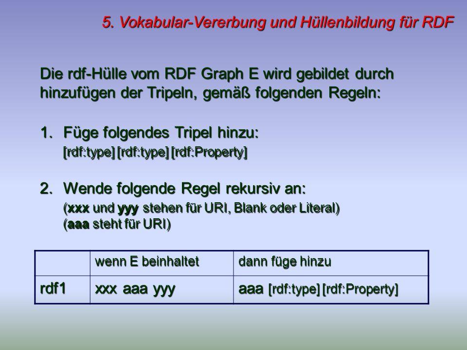 5. Vokabular-Vererbung und Hüllenbildung für RDF Die rdf-Hülle vom RDF Graph E wird gebildet durch hinzufügen der Tripeln, gemäß folgenden Regeln: 1.F