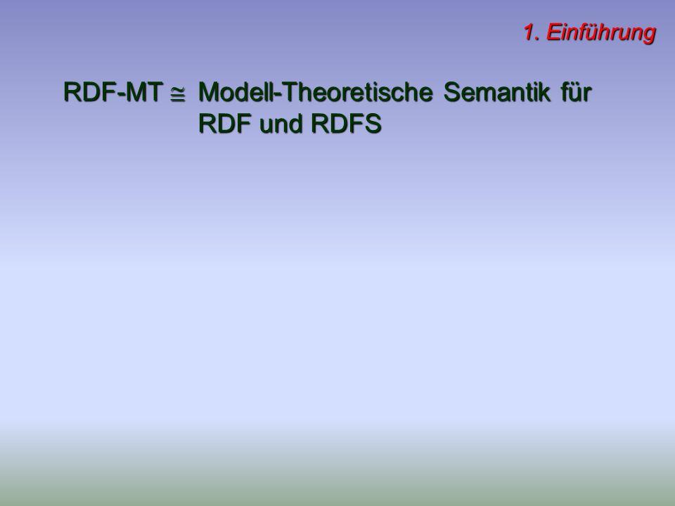 RDF-MT Modell-Theoretische Semantik für RDF und RDFS 1. Einführung