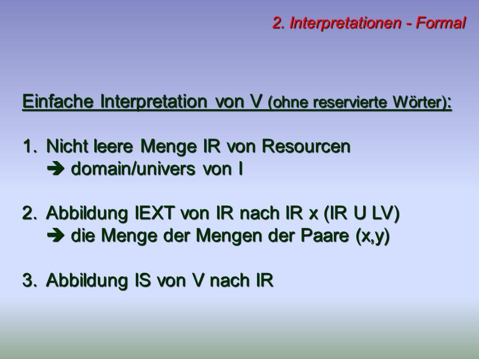 2. Interpretationen - Formal Einfache Interpretation von V (ohne reservierte Wörter) : 1.Nicht leere Menge IR von Resourcen domain/univers von I domai