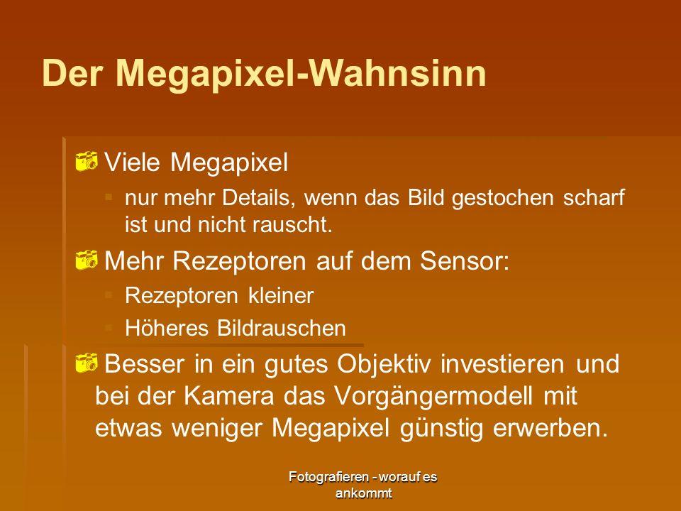 Fotografieren - worauf es ankommt Der Megapixel-Wahnsinn Viele Megapixel nur mehr Details, wenn das Bild gestochen scharf ist und nicht rauscht. Mehr