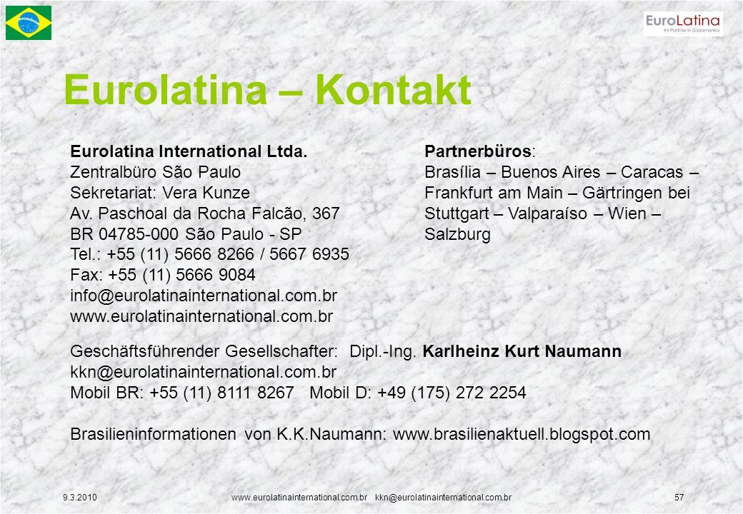 9.3.2010www.eurolatinainternational.com.br kkn@eurolatinainternational.com.br57 Eurolatina – Kontakt Eurolatina International Ltda. Zentralbüro São Pa