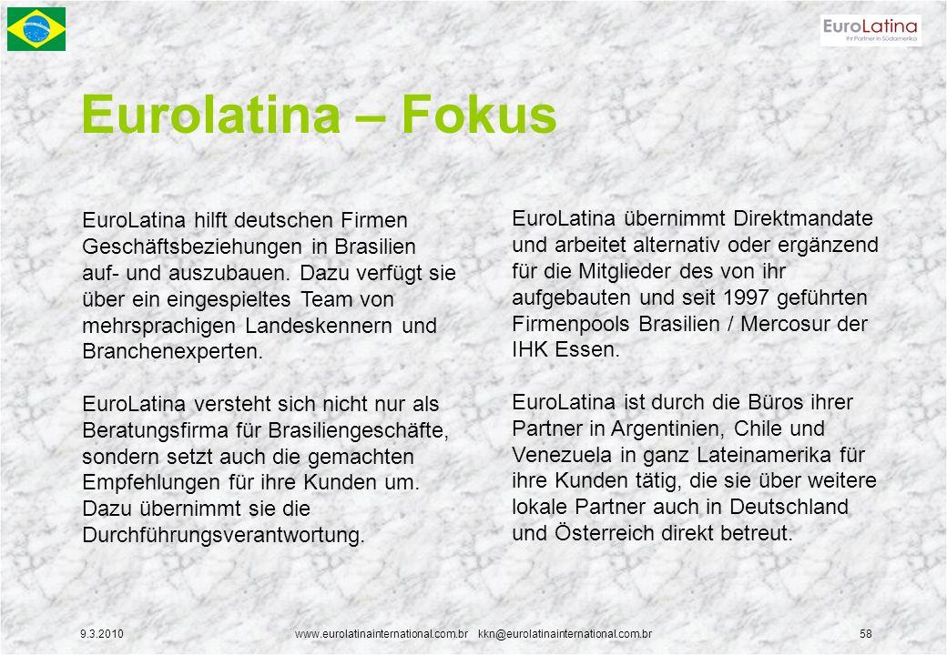 9.3.2010www.eurolatinainternational.com.br kkn@eurolatinainternational.com.br58 Eurolatina – Fokus EuroLatina hilft deutschen Firmen Geschäftsbeziehun