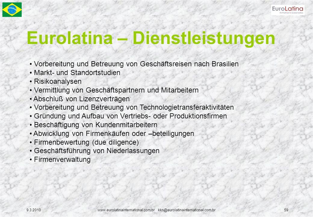 9.3.2010www.eurolatinainternational.com.br kkn@eurolatinainternational.com.br59 Eurolatina – Dienstleistungen Vorbereitung und Betreuung von Geschäfts