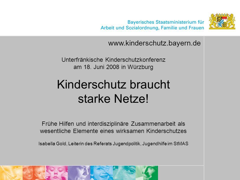 1 Unterfränkische Kinderschutzkonferenz am 18. Juni 2008 in Würzburg Kinderschutz braucht starke Netze! Frühe Hilfen und interdisziplinäre Zusammenarb