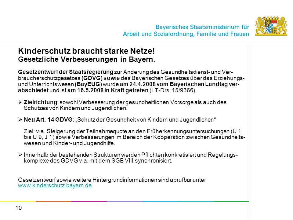 10 Kinderschutz braucht starke Netze! Gesetzliche Verbesserungen in Bayern. Gesetzentwurf der Staatsregierung zur Änderung des Gesundheitsdienst- und