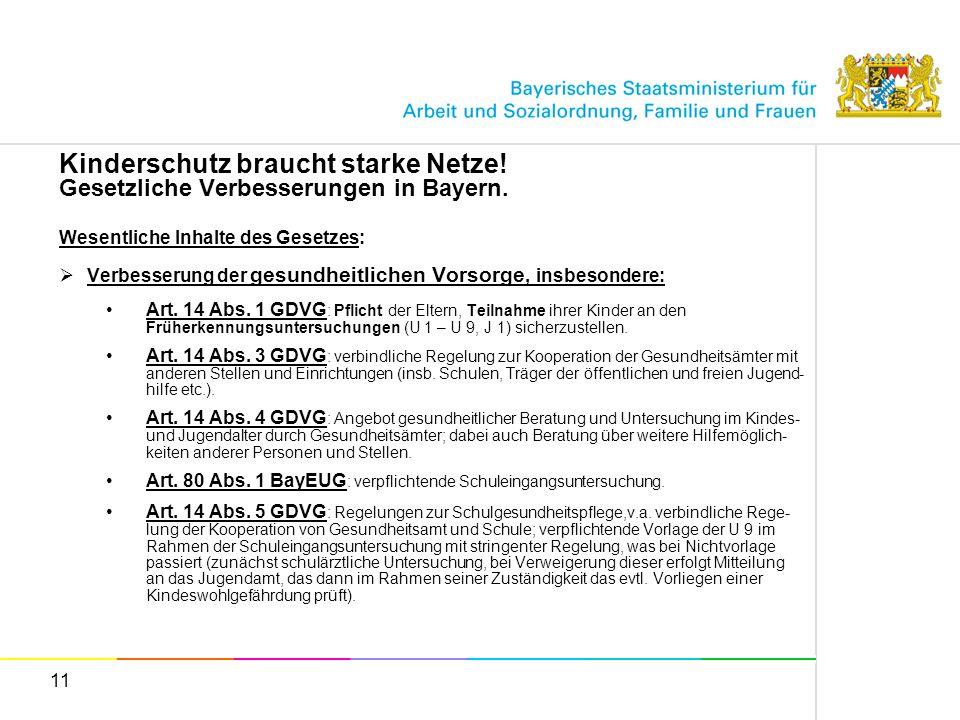 11 Kinderschutz braucht starke Netze! Gesetzliche Verbesserungen in Bayern. Wesentliche Inhalte des Gesetzes: Verbesserung der gesundheitlichen Vorsor