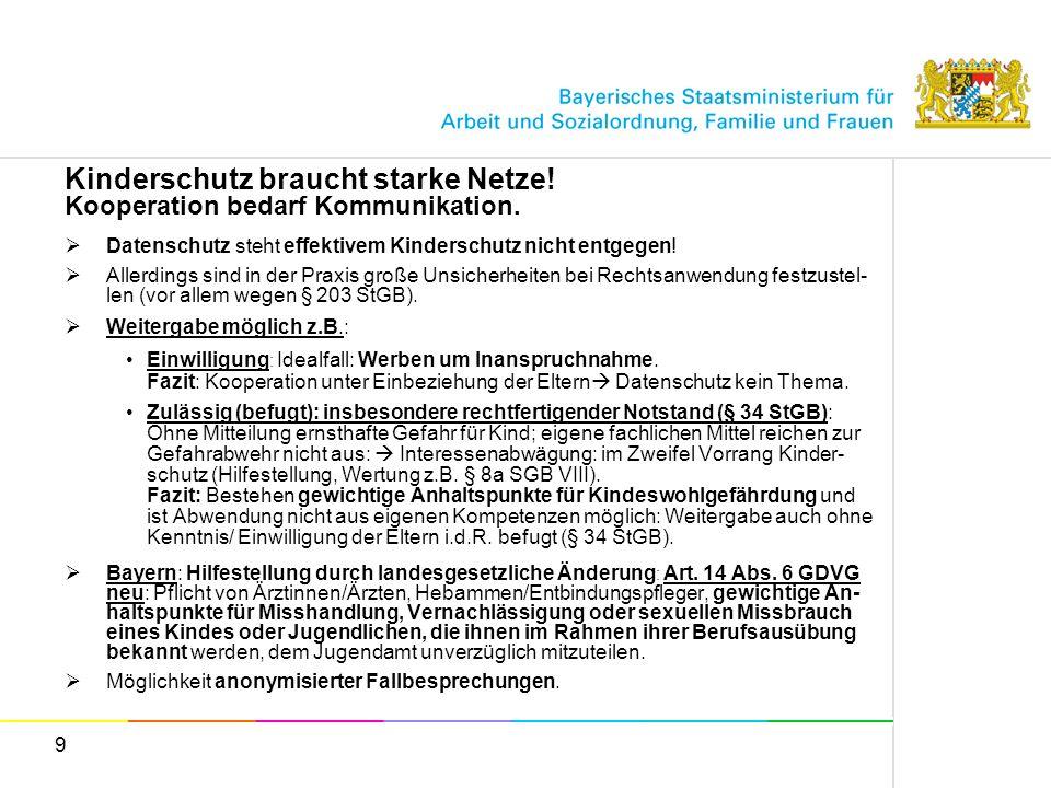 10 Kinderschutz braucht starke Netze.Gesetzliche Verbesserungen in Bayern.