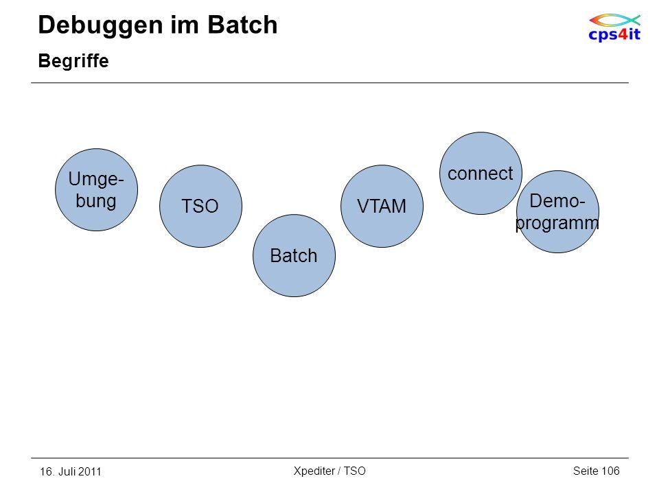 Debuggen im Batch Begriffe 16. Juli 2011Seite 106Xpediter / TSO Batch Demo- programm VTAM connect Umge- bung TSO