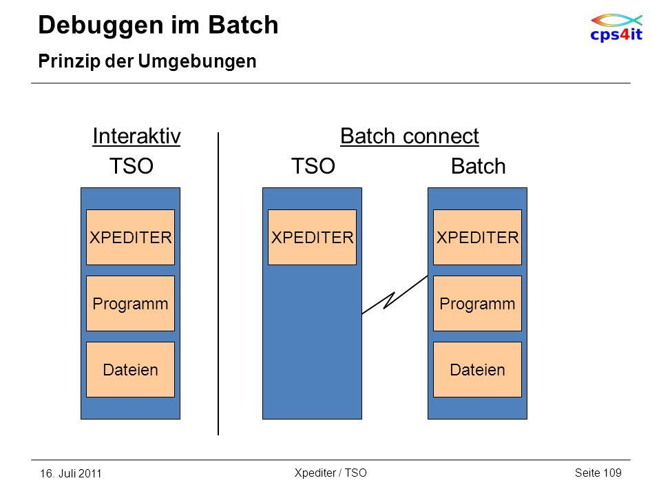 Debuggen im Batch Prinzip der Umgebungen 16. Juli 2011Seite 109Xpediter / TSO XPEDITER Interaktiv TSO Programm Dateien Batch connect TSO XPEDITER Prog