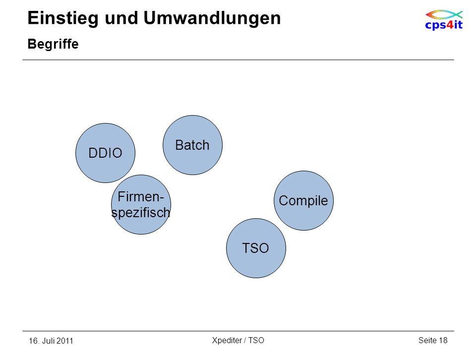 Einstieg und Umwandlungen Begriffe 16. Juli 2011Seite 18Xpediter / TSO Firmen- spezifisch Batch TSO Compile DDIO